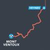 Routeplaatje van etappe 1 van The Ride 2022. Start bij de Mont Ventoux.